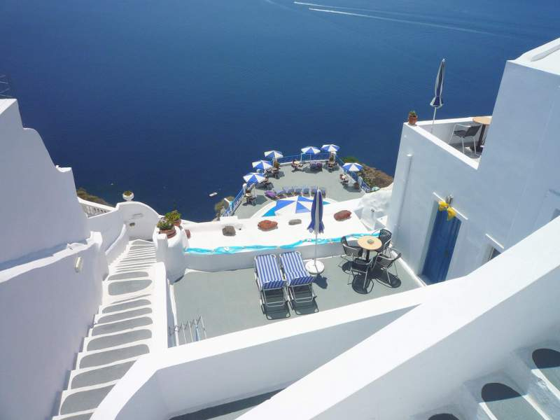 Wonderful Combination of Blue Sea Water and White Color Building of Santorini